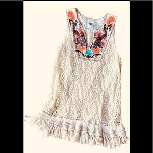 Anthropologie Embroidered Crochet Dress